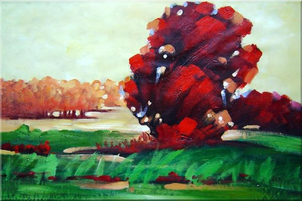 Modern Red Trees Surrounded by Green Field Oil Painting Landscape Impressionism 24 x 36 Inches