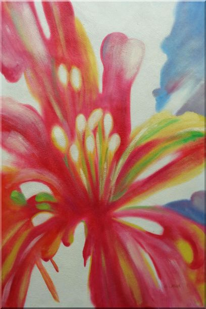 Colorful Flower Pistil Oil Painting Modern 36 x 24 Inches