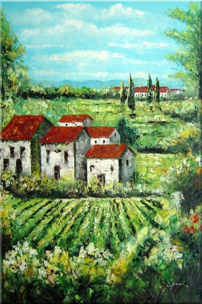 Tuscan Village in a Landscape Oil Painting Italy Naturalism 36 x 24 Inches