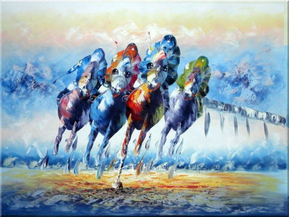 Horse Racing Oil Painting Portraits Animal Modern 36 x 48 Inches