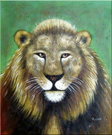 Lion Head Oil Painting Animal Naturalism 24 x 20 Inches