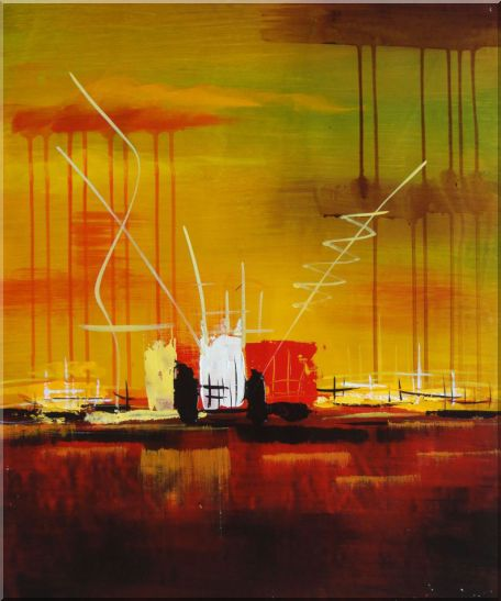 Abstract Oil Painting of Harborside Nonobjective Modern 24 x 20 Inches