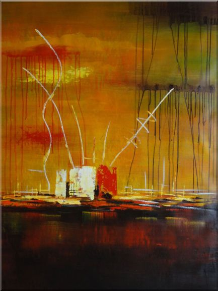 Abstract Oil Painting of Harborside Nonobjective Modern 48 x 36 Inches