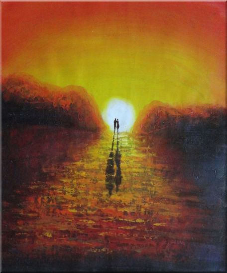 A Couple Walking in Glowing Dawn Light Oil Painting Portraits Impressionism 24 x 20 Inches