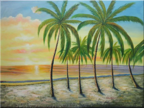 Tropical Paradise of Palm Trees on Sunset at Seaside Oil Painting Seascape America Naturalism 36 x 48 Inches