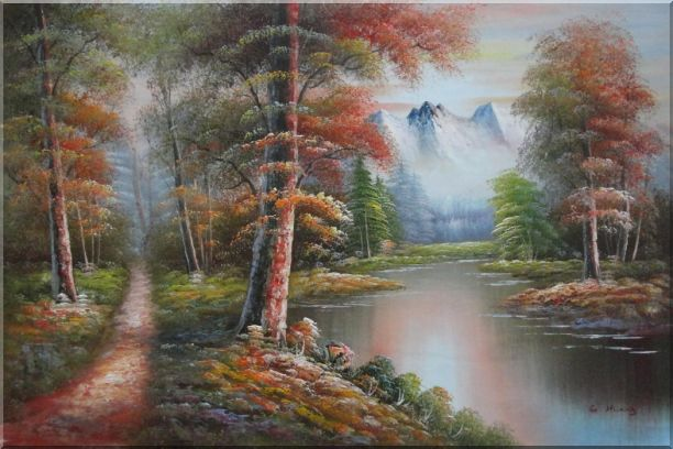 Small Path Along Calm Stream in Gloden Autumn Oil Painting Landscape River Naturalism 24 x 36 Inches