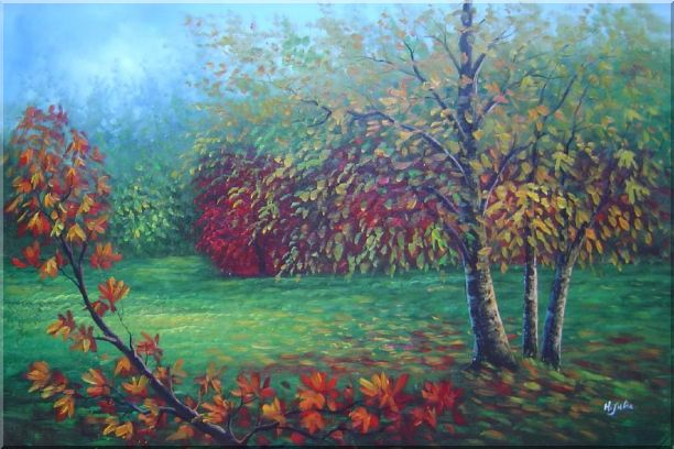 Red and Yellow Trees in Green Field Oil Painting Landscape Autumn Naturalism 24 x 36 Inches