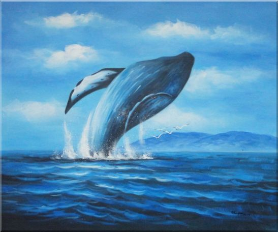 Whale Jumping Out of the Water Oil Painting Animal Marine Life Naturalism 20 x 24 Inches