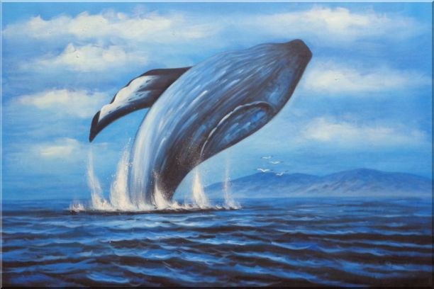Whale Jumping Out of the Water Oil Painting Animal Marine Life Naturalism 24 x 36 Inches