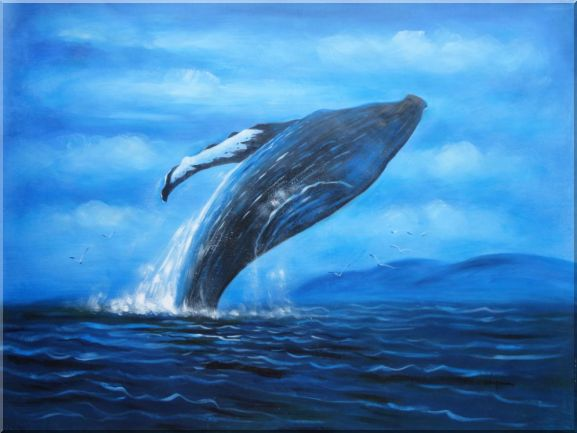 Whale Jumping Out of the Water Oil Painting Animal Marine Life Naturalism 36 x 48 Inches