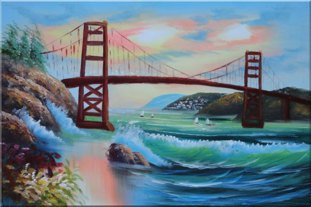 Golden Gate Bridge in San Francisco Oil Painting Seascape America Naturalism 24 x 36 Inches