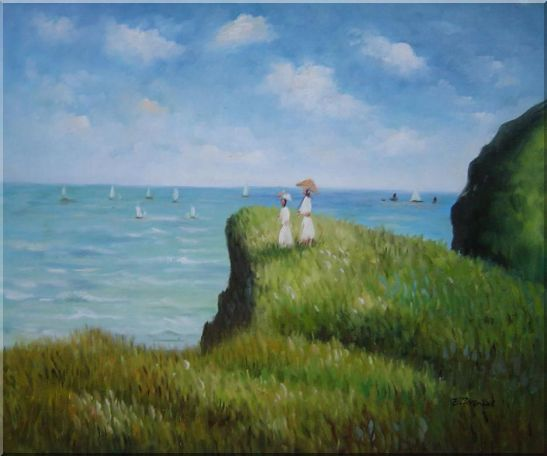 La promenade sur la falaise, Monet Reproduction Oil Painting Seascape France Impressionism 20 x 24 Inches
