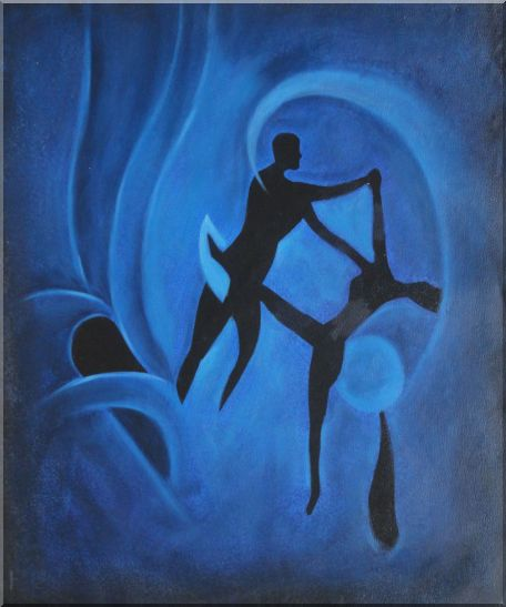 Nude Dancing Couple Joyful Moment Oil Painting Portraits Dancer Modern 24 x 20 Inches