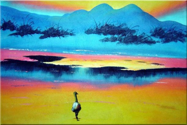 Duck Walking in Beach of Lake Oil Painting Landscape River Animal Modern 24 x 36 Inches