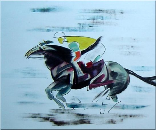 Racing Horse and Jockey Oil Painting Portraits Animal Modern 20 x 24 Inches
