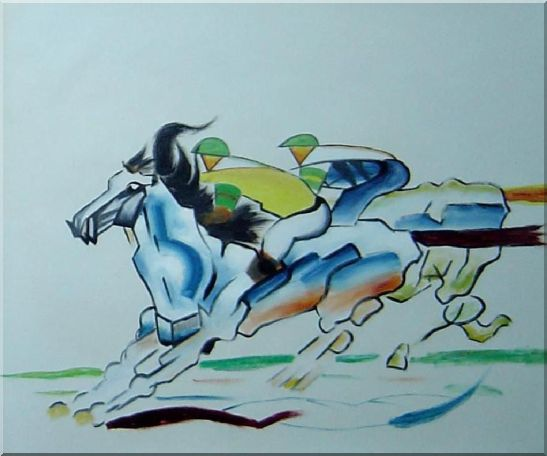 Riders Compete in Horse Racing Oil Painting Portraits Animal Modern 20 x 24 Inches
