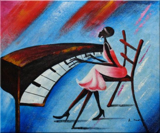 Black Girl Play Piano In a Blue Setting Oil Painting Portraits Woman Musician Modern 20 x 24 Inches