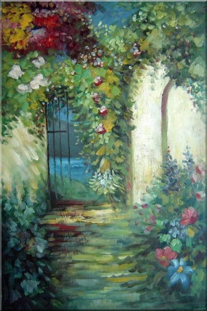 Charming Garden Gate Oil Painting Impressionism 36 x 24 Inches