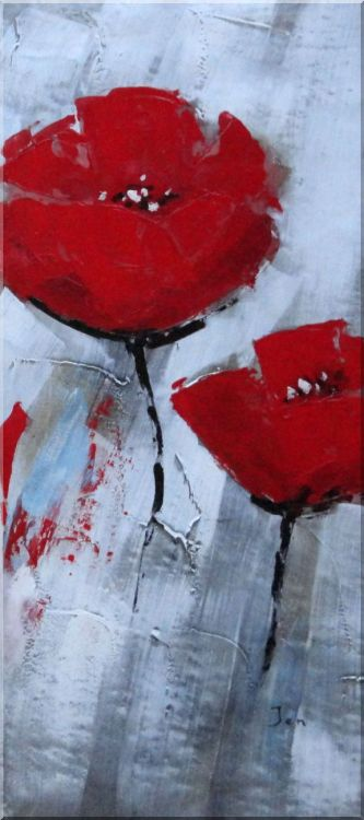 Red Poppies in Gray Background - 3 Canvas Set 3-canvas-set,flower decorative  36 x 48 inches