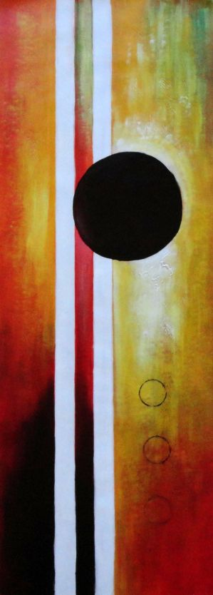 Decorative Black Circles and Strips  - 3 Canvas Set 3-canvas-set,nonobjective decorative  48 x 48 inches