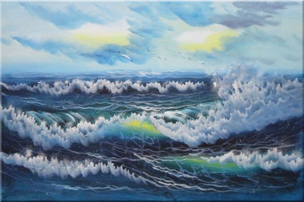 White Waves and Blue Sea On a Background of Cloudy Sky Oil Painting Seascape Naturalism 24 x 36 Inches