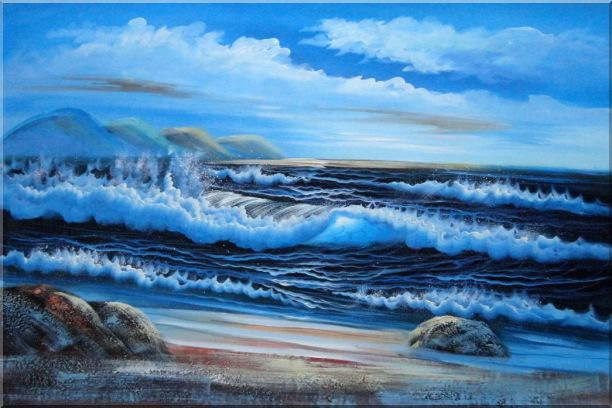 Beautiful Blue Waves in the Sea with Blue Sky Oil Painting Seascape Naturalism 24 x 36 Inches