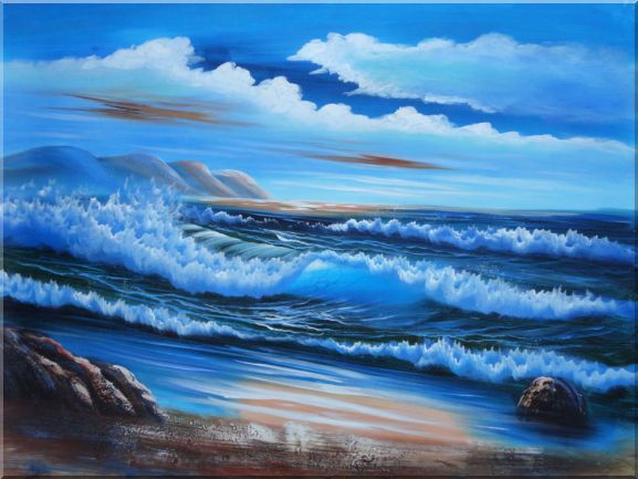Beautiful Blue Waves in the Sea with Blue Sky Oil Painting Seascape Naturalism 36 x 48 Inches