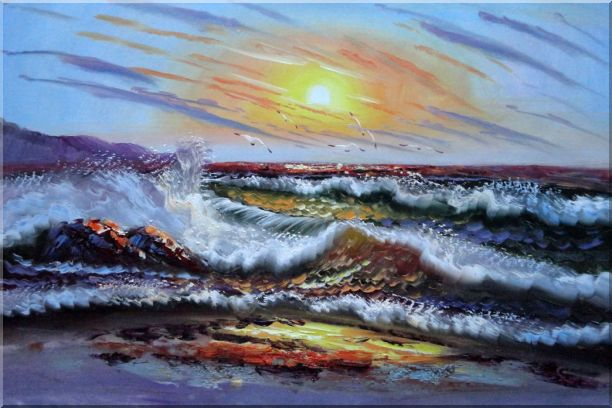 Flying Birds, Waves Crashing On Beach Rock Oil Painting Seascape Naturalism 24 x 36 Inches