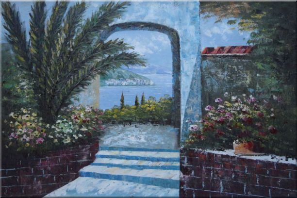 View of of Mediterranean Sea through Arch Oil Painting Garden Naturalism 24 x 36 Inches