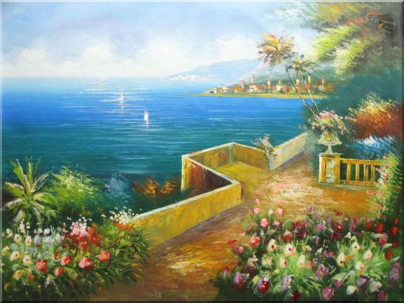 Mediterranean Dream Flower Garden Oil Painting Naturalism 36 x 48 Inches
