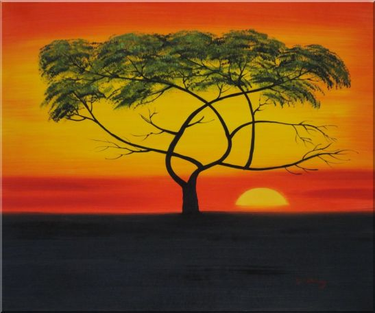 African Lonely Tree at Red Sunset Oil Painting Landscape Naturalism 20 x 24 Inches