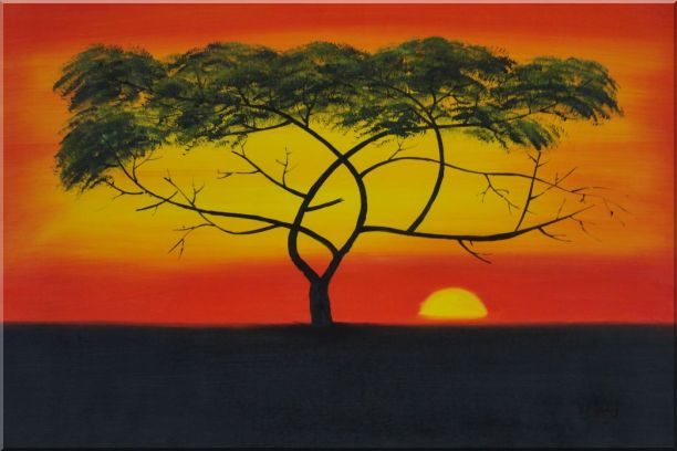 African Lonely Tree at Red Sunset Oil Painting Landscape Naturalism 24 x 36 Inches