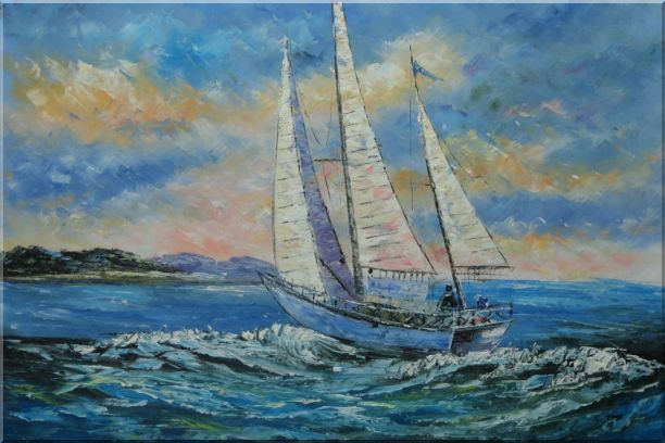 Fully Riggled White Sailing Boat on Sea Oil Painting Boating Naturalism 24 x 36 Inches
