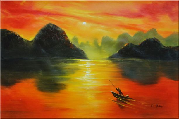 Small Boat at Amazing Red Sunset Oil Painting Landscape River Modern 24 x 36 Inches