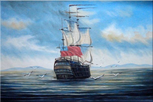 Sailing Warship On Blue Sea Oil Painting Boat Classic 24 x 36 Inches