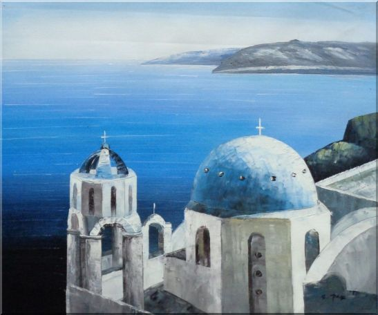The Churches and Ocean of Santorini Oil Painting Mediterranean Naturalism 20 x 24 Inches