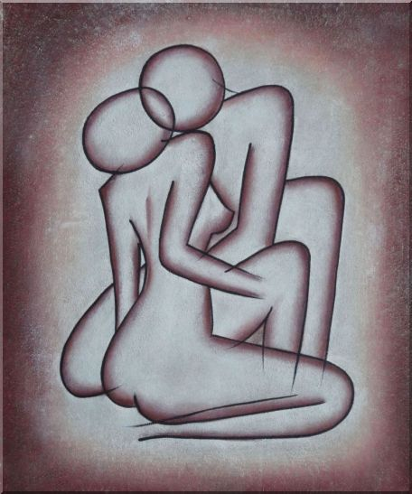 Kissing Nude Couple in Brown Oil Painting Portraits Modern 24 x 20 Inches