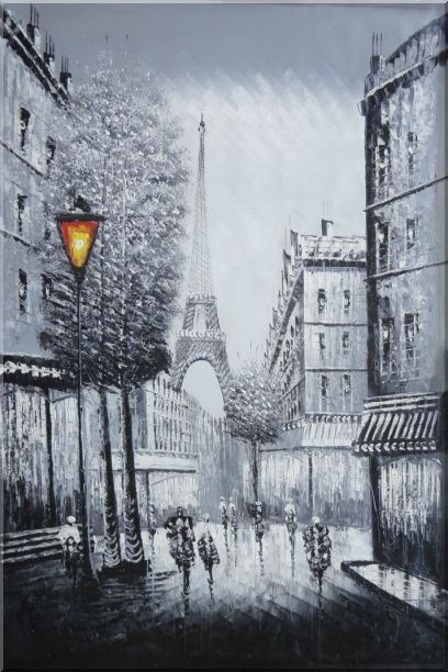 People Walk on Paris Street to Eiffel Tower, Black and White Oil Painting Cityscape Impressionism 36 x 24 Inches