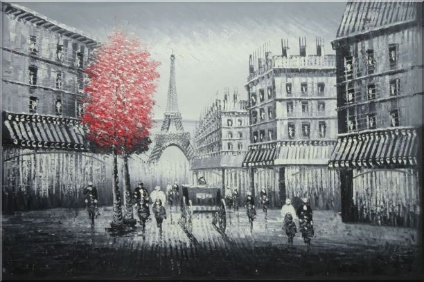 Paris Street to Eiffel Tower Black and White Oil Painting Cityscape Impressionism 24 x 36 Inches