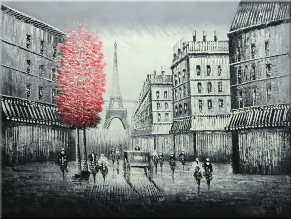 Paris Street to Eiffel Tower Black and White Oil Painting Cityscape Impressionism 36 x 48 Inches