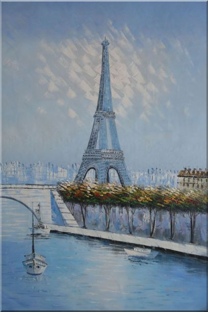 Eiffel Tower, Boats and Banks of Seiner River Oil Painting Cityscape France Impressionism 36 x 24 Inches