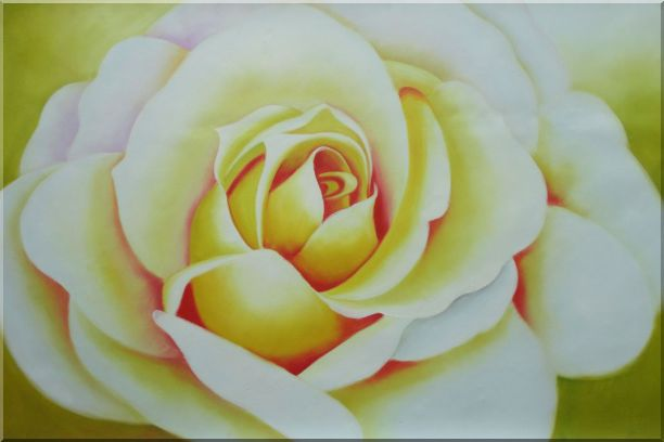 Pink Rose Bud Oil Painting Flower Naturalism 24 x 36 Inches