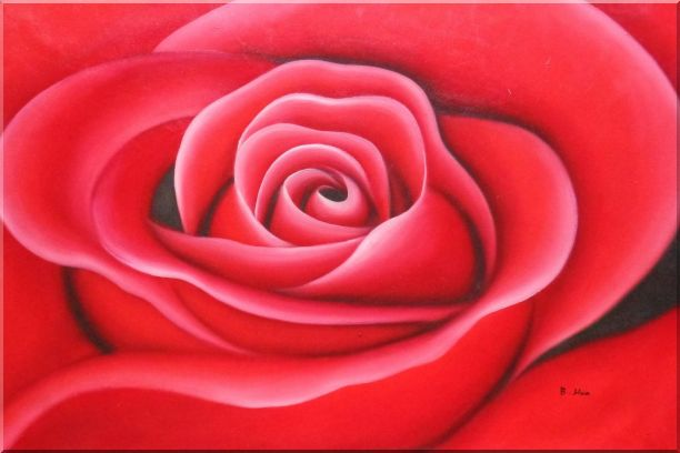 The Beauty of Red Rose Bud Oil Painting Flower Decorative 24 x 36 Inches