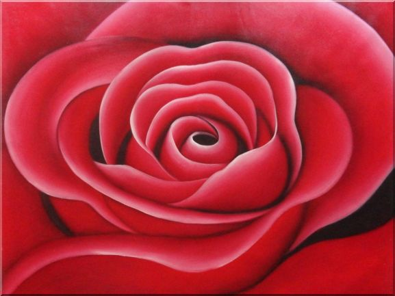 The Beauty of Red Rose Bud Oil Painting Flower Decorative 36 x 48 Inches