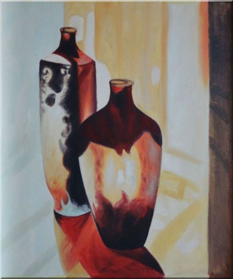 Two Glass Vases Oil Painting Still Life Decorative 24 x 20 Inches