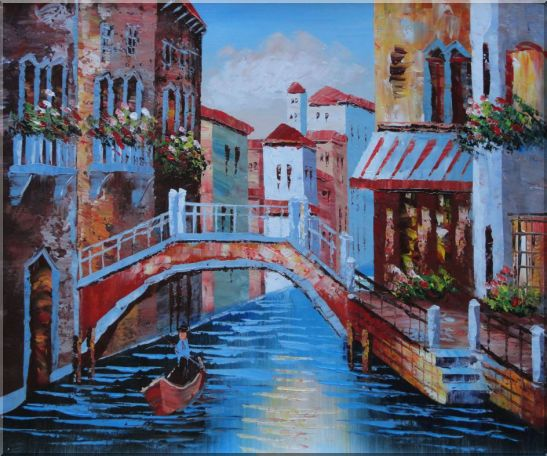 Gondolas in Canal of Venice, Italy Oil Painting Naturalism 20 x 24 Inches