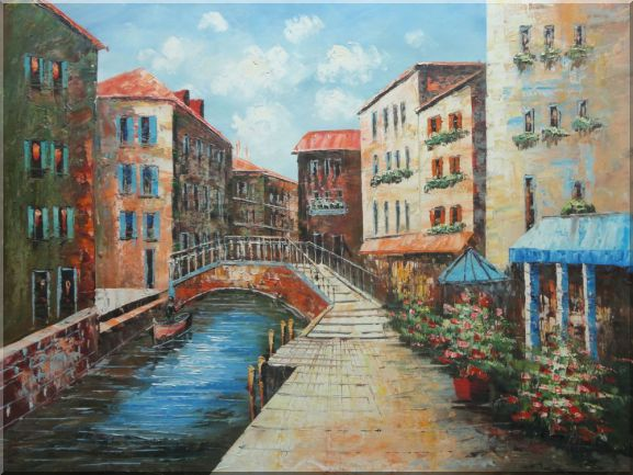 Streets of Venice Oil Painting Italy Naturalism 36 x 48 Inches