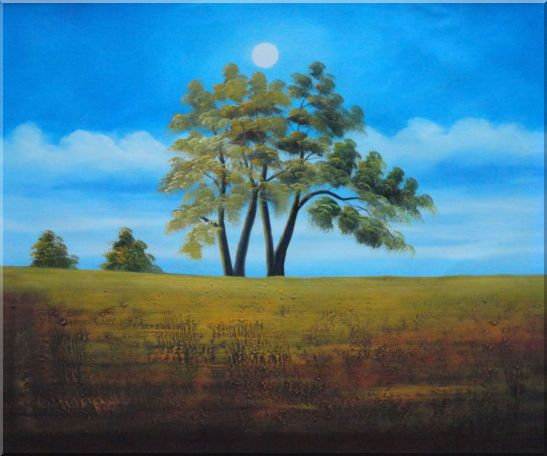 Trees Under Beautiful Blue Sky Oil Painting Landscape Naturalism 20 x 24 Inches