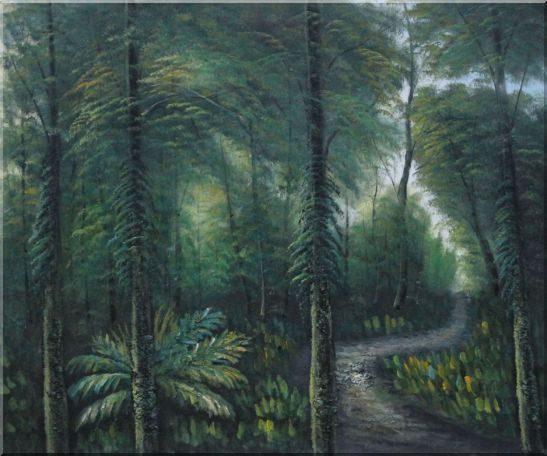 Small Quiet Trail in a Green Forest Oil Painting Landscape Tree Naturalism 20 x 24 Inches