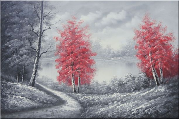 Two Red Leave Trees in Black and White Landscape Oil Painting Naturalism 24 x 36 Inches